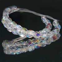 Czech fire polished beads, clear with AB coating, 4 mm, 60 pcs.