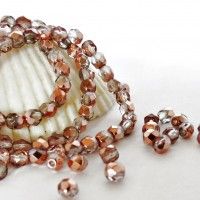 Czech fire polished beads with golden coating, 4 mm, 60 pcs.