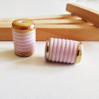 Cylinder Glass Lampwork Beads, Pink, 15 mm