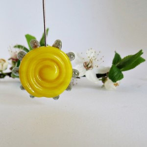 Glass Lampwork Bead, Sun, Yellow, 25 mm