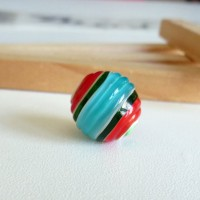 Glass Lampwork Beads, Round Red-Blue, 15 mm.