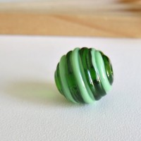Glass Lampwork Beads, Round Green, 15 mm.