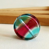 Glass Lampwork Bead, Turquoise - Red, 20 mm.