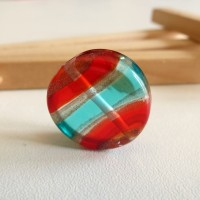Glass Lampwork Bead, Turquoise - Scarlet, 20 mm.
