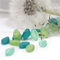 50 pcs Czech Glass Beads Leave - Mix of Matte Green Shades.