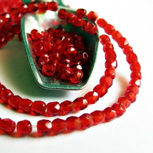 Czech fire polished beads, siam red, 2 mm, 100 pcs.