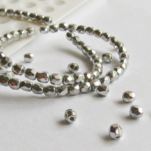 Czech fire polished beads, silver, 2 mm, 100 pcs.