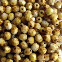 Czech fire polished beads, opaque picasso beige, 4 mm, 60 pcs.