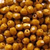 Czech fire polished beads, opaque mustard, 4 mm, 60 pcs.