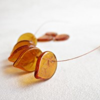 Czech Glass Beads, Topaz Brown Leaves, 18 mm, 20 pcs.