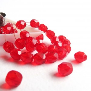Czech fire polished red beads, 6 mm, 40 pcs.
