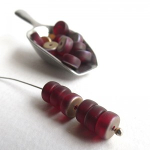Czech Glass Wheel Beads, Matte Red with Golden Coating, 6mm, 60 pcs.