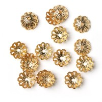 Bead caps, gold, 7 mm, 20 pcs