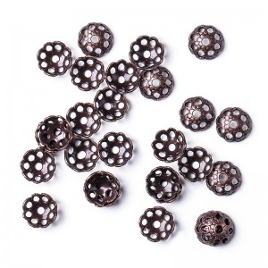 Bead caps, copper, 7 mm, 20 pcs