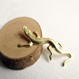 Gecko lizard charms, gold colored, 5 pcs.