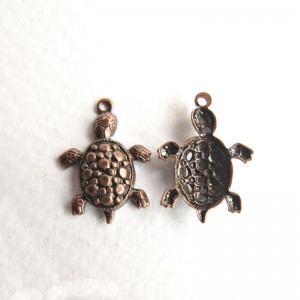 Turtle charms, copper colored, 5 pcs.