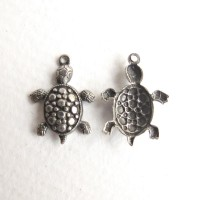 Turtle charms, antique silver colored, 5 pcs.