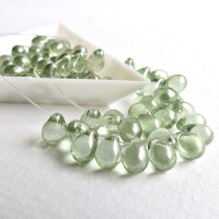 Czech Glass Teardrop Beads with Light Green Coating, 7 mm, 40 pcs.