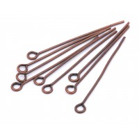 Eye pin, copper colored, 40 mm, 50 pcs.