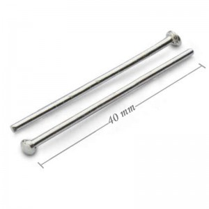 Head pin, platina colored, 40 mm, 50 pcs.