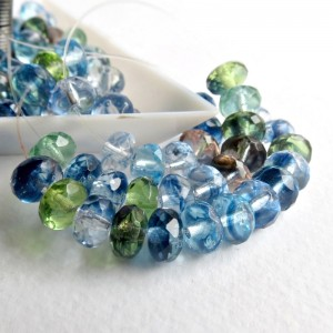 Czech glass beads fire polished rondelles, ocean mix, 7 mm, 40 pcs.