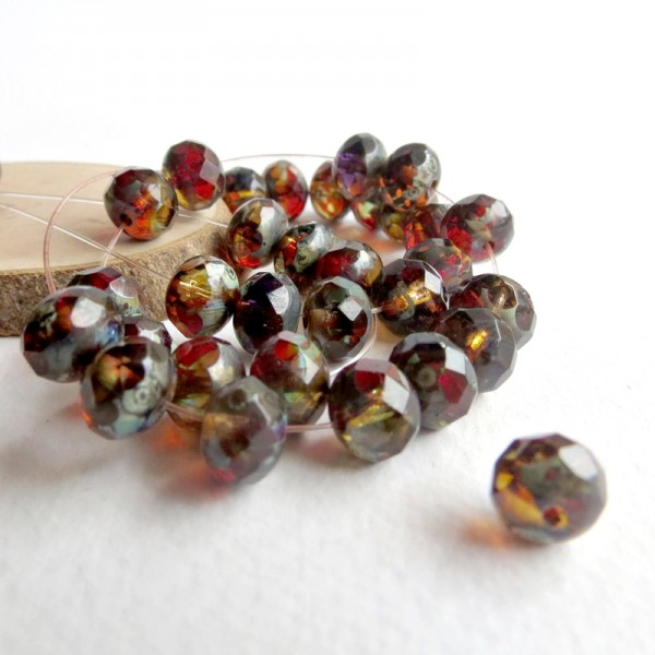 53dbcc088 Czech glass beads fire polished rondelles, fall colors, 7 mm, 40 pcs.