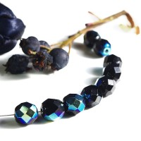 Czech fire polished beads, black with IRIS coating, 8 mm, 20 pcs.