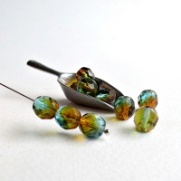 Czech fire polished beads, turquoise brown, 8 mm, 20 pcs.