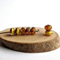 Czech glass beads fire polished tiny rondelles, picasso yellow, 5mm, 80 pcs.