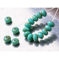 Czech glass beads fire polished gemstone opaque mint green donuts with picasso coating, 3x5mm, 40 pcs.