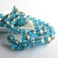Czech Glass Round Beads, Golden Turquoise Blue, 6 mm, 80 pcs.