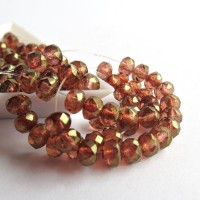 Czech glass beads fire polished rondelles, clear with golden pink coating, 5mm, 80 pcs.
