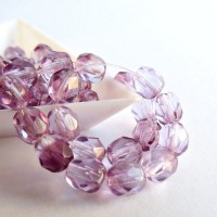 Czech fire polished beads, amethyst purple, 6 mm, 40 pcs.