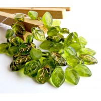 Czech Glass Beads Leaf Mix, Olive Green, 7х12 mm, 40 pcs.