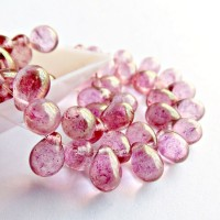 Czech Glass Teardrop Beads with Golden Pink Coating, 7 mm, 40 pcs.