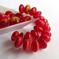 Czech Glass Rondelle Beads, Red yellow shades, 7mm, 40 pcs.