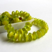 Czech Glass Rondelle Beads, Bright yellow-green shades, 7mm, 40 pcs.