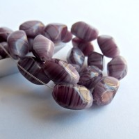 Czech Glass Pressed Beads, Twisted Oval, Amethyst Purple, 11х7 mm, 20 pcs.