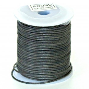 1mm Vintage black distressed natural round leather cord, 5 m