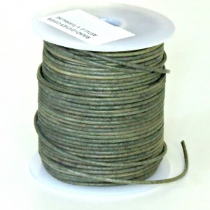 1.5mm Vintage tourmaline distressed natural round leather cord, 5 m