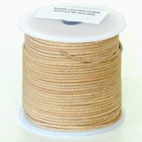 1mm Vintage beige distressed natural round leather cord, 5 m