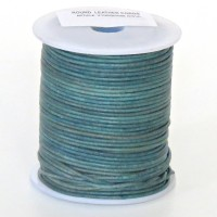 1mm Vintage turquoise distressed natural round leather cord, 5 m