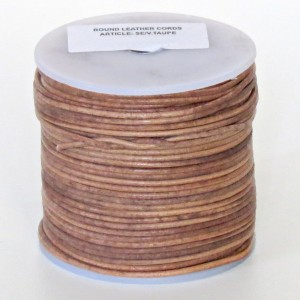 1.5mm Vintage taupe brown distressed natural round leather cord, 5 m