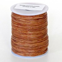 1mm Vintage tan brown distressed natural round leather cord, 5 m