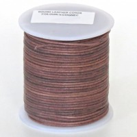 1mm Vintage cognac brown distressed natural round leather cord, 5 m