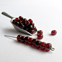 Preciosa Czech Seed Beads, Picasso Dark Red, 3/0, 20 gr