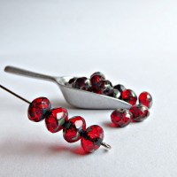 Czech glass beads fire polished rondelles, picasso red, 7 mm, 40 pcs.
