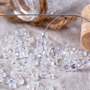 Czech fire polished beads crystal transparent with AB coating, 3 mm, 60 pcs