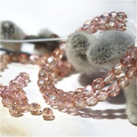 Czech fire polished beads, clear with golden purple coating, 3 mm, 60 pcs.