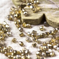 Czech fire polished beads? clear with golden coating, 3 mm, 60 pcs.
